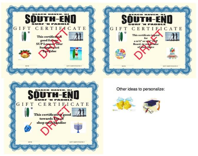 Gift Certificates for all occasions