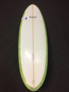 "Pine Knot egg style 6'1"" x 20 1/2"" Super clean ""retro"" single fin Easy to ride and hassle free Regularly: $600; Sale: $550"