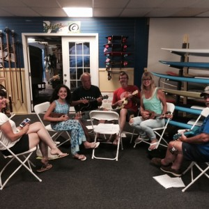 Ukulele night at the Surf Shop