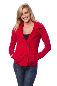 french terry peacoat - red