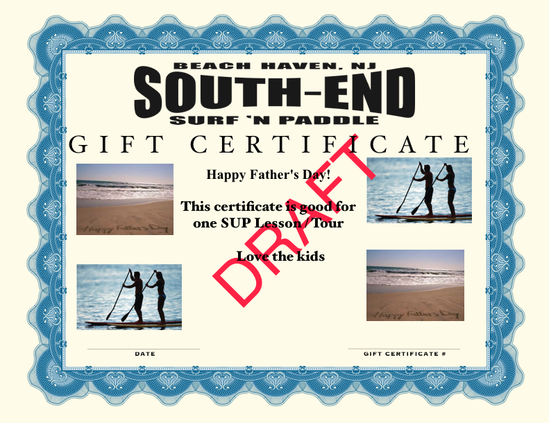 gift certificate for father's day for standup paddleboard lessons