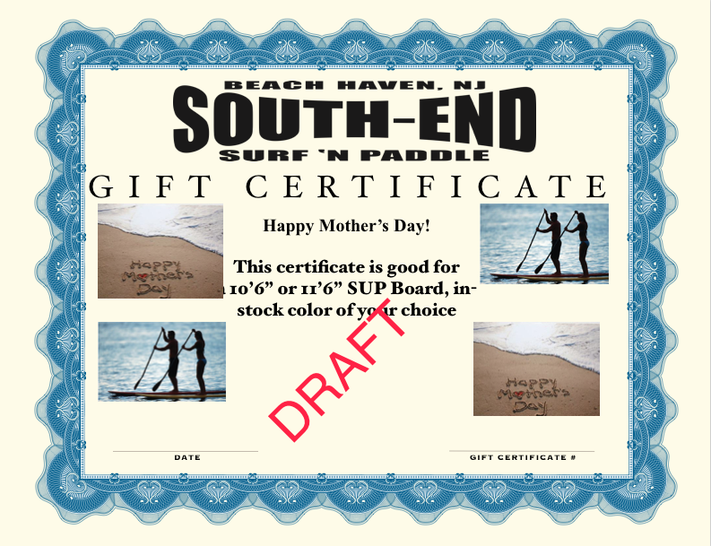 Mother's Day gift certificate for a new sup board