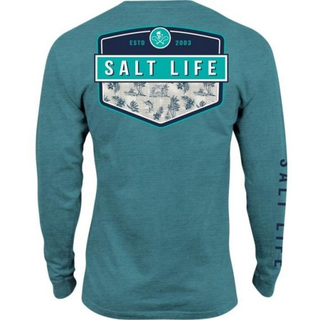 Salt Life Island Breeze Badge Sunburnt Long Sleeve Pocket Tee